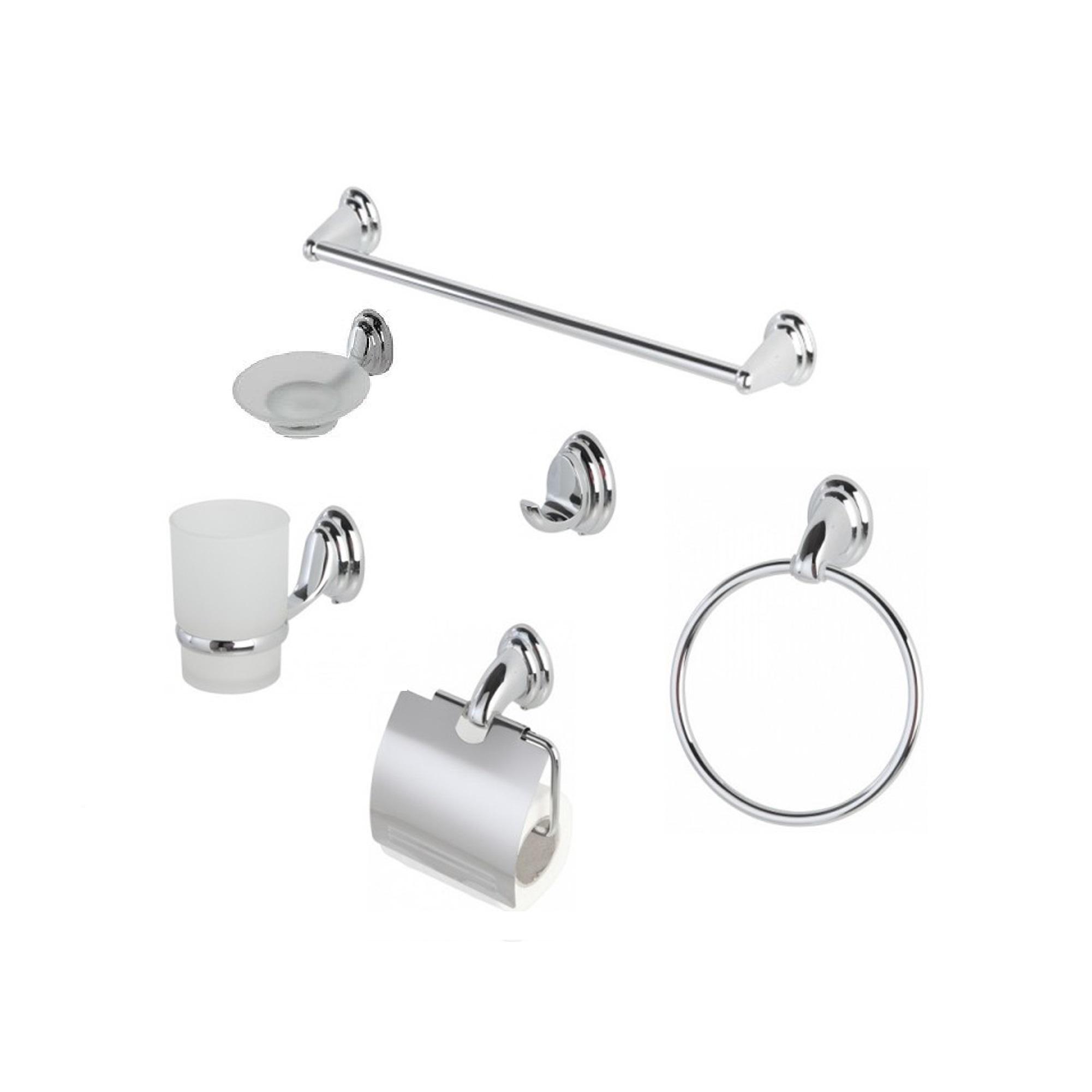 Kit accessori bagno 6 pezzi cromato portasapone for Accessori bagno ebay