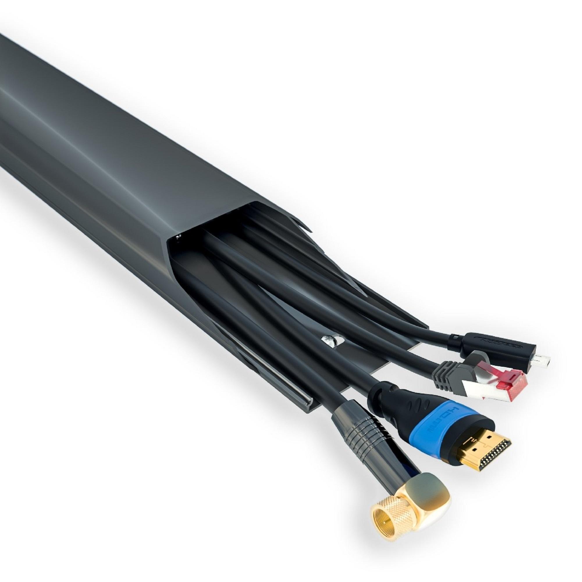 Canalina Per Fili Tv canalina copricavi in alluminio nero 75 cm